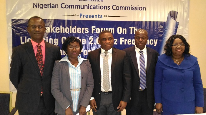 """L: Director, Spectrum Administration, Mr. Austin Nwaulune; Director, Corporate Planning and Strategy, Ms Funlola Akiode; Director, Public Affairs, Tony Ojobo; Commission Secretary, Mr Felix Adeoye; and Director, Policy and Regulation Issues, Mrs. Josephine Amuwa, all from  Nigeria Communications Commission (NCC) at the """"Stakeholders Forum on the Licensing of the 2.6GHz frequency band Post Mortem"""" on Monday in Lagos."""