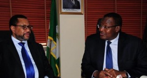 L-R: Group Chairman MTN Group Mr. Phuthuma Nhleko and EVC/CEO Prof. U.G Danbatta ,Nigerian Communications Commission in a discussion.